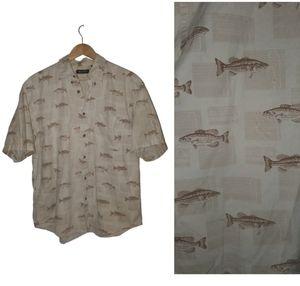 Bass Fish Mens Button Up Summer Shirt Large